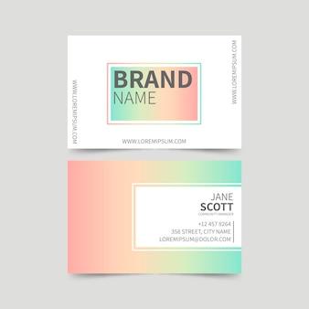 Шаблон визитной карточки пастельных градиентов
