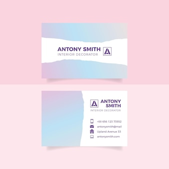 Pastel gradient business card template