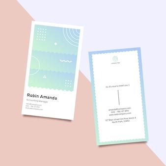 Modello di biglietto da visita gradiente pastello