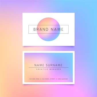 Pastel gradient business cards template