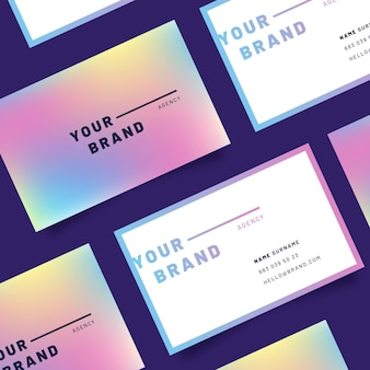 Pastel gradient template for business cards