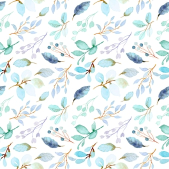 Pastel green leaves watercolor seamless pattern