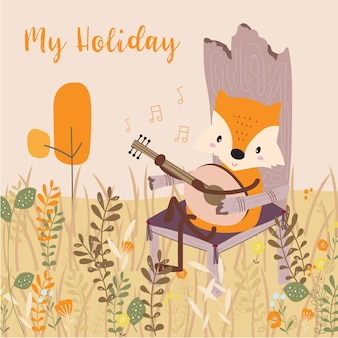 Pastel greeting card with fox
