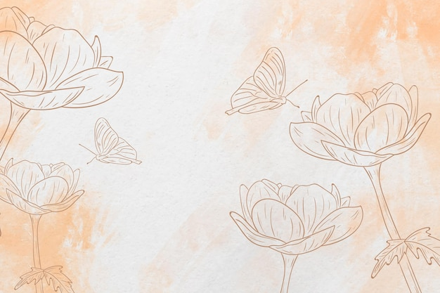 Pastel hand drawn butterfly and flowers background