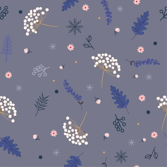 Pastel hand drawn floral winter seamless pattern with christmas leaves and berries.