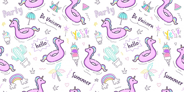 Pastel hand drawn summer pattern seamless