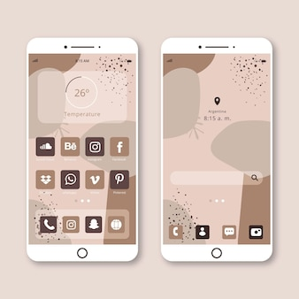 Pastel home screen template for smartphone