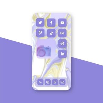 스마트 폰용 파스텔 홈 화면 테마
