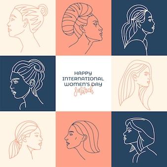 인사말 카드 파스텔 국제 여성의 날 그림.