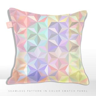 テキスタイルプリント用のパステル虹色、マルチカラー、またはホログラフィック幾何学的三角形パターン。