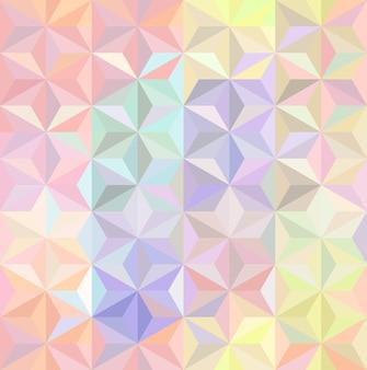 パステル虹色のマルチカラーまたはホログラフィック幾何学的三角形のシームレスなパターン Premiumベクター