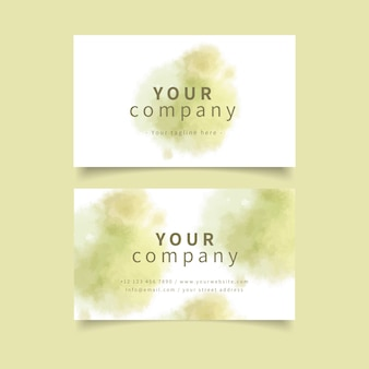 Pastel khaki colours and brush strokes business card
