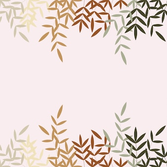 Pastel leaves frame background
