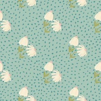 パステル調の明るい花のシームレスな植物パターン。ドットと青の柔らかい背景。様式化されたプリント。壁紙、テキスタイル、包装紙、布印刷用に設計されています。 。