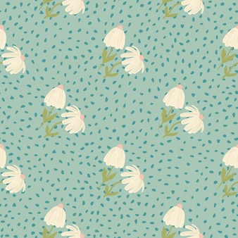 Pastel light flowers seamless botanic pattern. blue soft background with dots. stylized print. designed for wallpaper, textile, wrapping paper, fabric print.  .