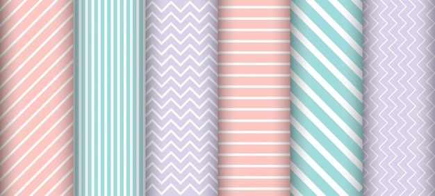 Pastel line seamless pattern set