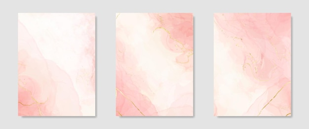Pastel marble alcohol ink background with gold stains