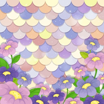 Pastel mermaid scale pattern with many flowers