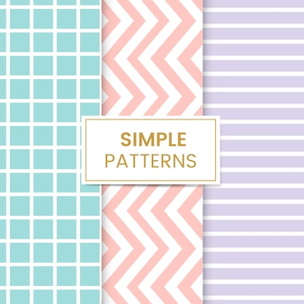 Pastel mixed seamless pattern set