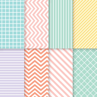 Pastel mixed seamless pattern vector set