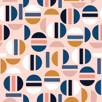 Pastel modern half of circle and geometric seamless pattern