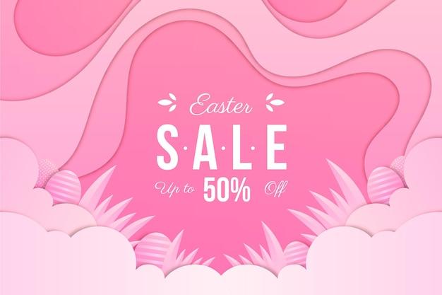 Pastel monochrome easter sale illustrationin paper style