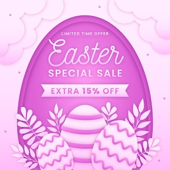 Pastel monochrome easter sale illustration in paper style