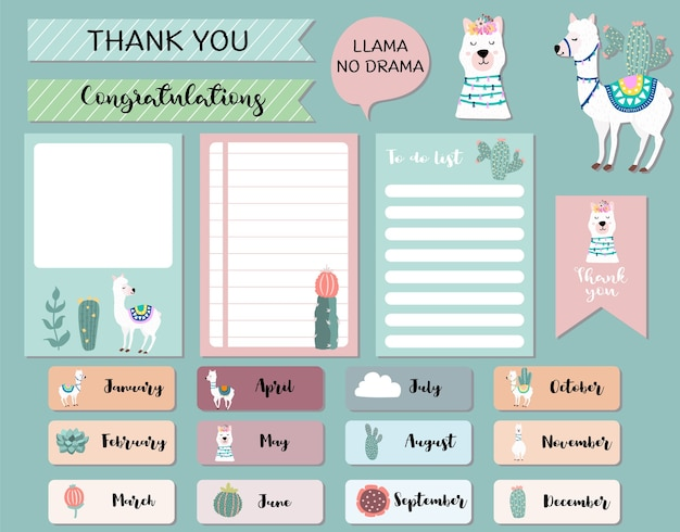Pastel monthly calendar planner with llama,alpaca,cactus.can use for printable,scrapbook,diary