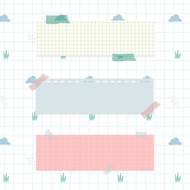 Pastel notepapers on cloud pattern background