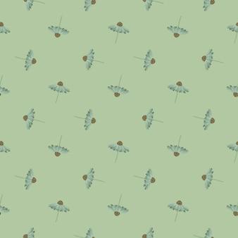 パステルの淡いグリーンは、ガーベラの花の形をしたシームレスなパターンです。幾何学的なスタイルのプリント。季節のテキスタイルプリント、ファブリック、バナー、背景、壁紙のベクトルイラスト。