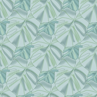 Pastel palette creative seamless floral pattern with monstera leaves shapes. soft blue tones floral artwork.