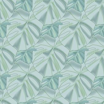 Monstera와 파스텔 팔레트 창조적 인 원활한 꽃 패턴 모양을 떠난다. 부드러운 블루 톤의 꽃 작품.