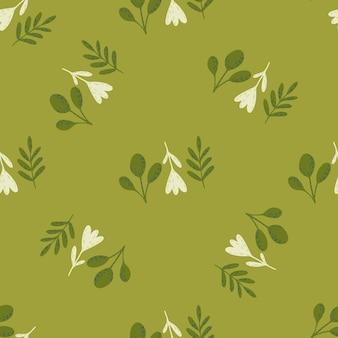 花と枝の飾りとパステルパレットシームレスパターン。緑のソフトパレットアートワーク。ストックイラスト。