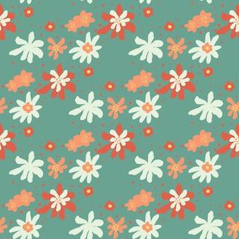 흰색, 빨간색 및 주황색 꽃 추상 인쇄와 파스텔 팔레트 원활한 패턴입니다. 파란색 배경입니다. 계절 섬유 인쇄, 직물, 배너, 배경 및 배경 화면에 대한 벡터 일러스트 레이 션.
