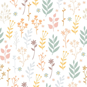 Pastel pattern with plants