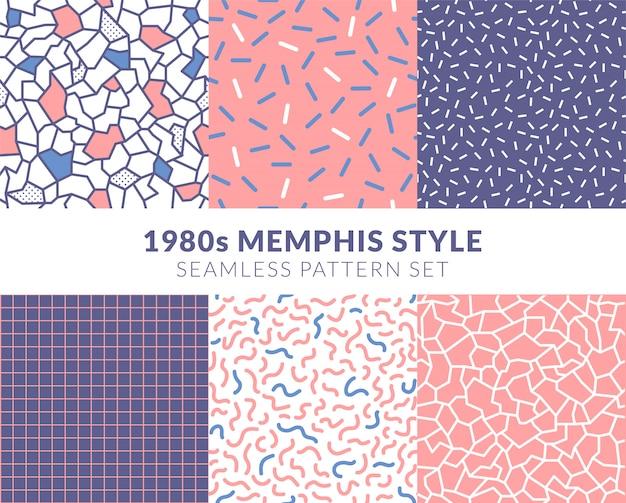 Pastel pink 1980s memphis style seamless pattern  set