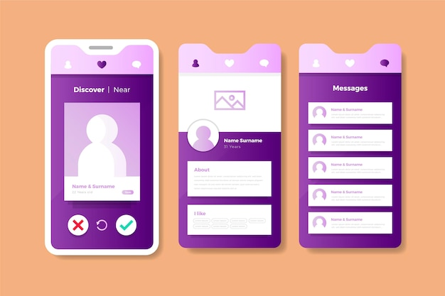 パステルピンクとバイオレットの出会い系アプリのインターフェース