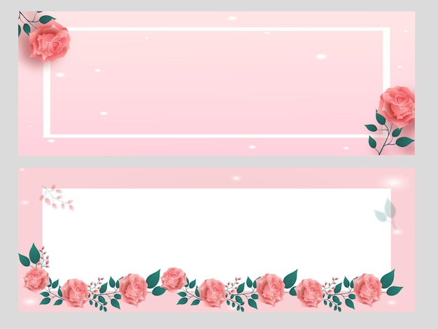 Пастельный розовый и белый баннер, украшенный цветами роз