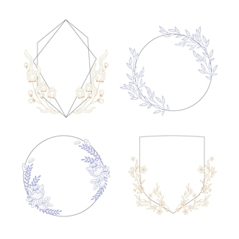 Pastel pink and blue floral frame collection