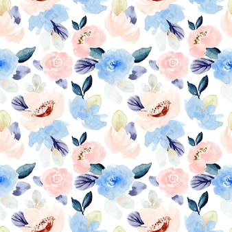 Pastel pink blue floral watercolor seamless pattern