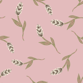 Pastel pink colored seamless pattern with beige ear of wheat elements print. hand drawn nature harvest backdrop. graphic design for wrapping paper and fabric textures. vector illustration.