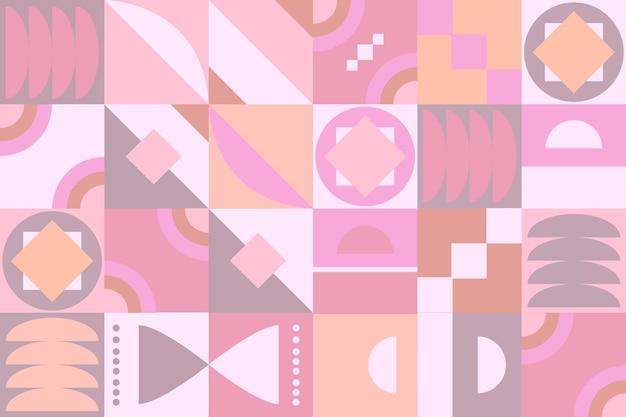 パステルピンク色の幾何学的な壁画の壁紙
