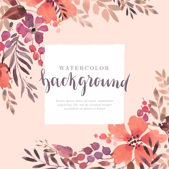 Pastel pink floral background in watercolor style