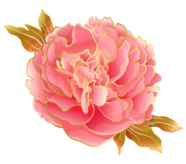 オリエンタルトレンドのパステルピンクの牡丹の花