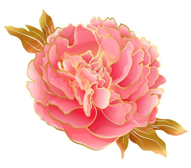 Pastel pink peony flower in oriental trend