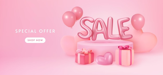 Pastel pink sale banner display with presents and balloons