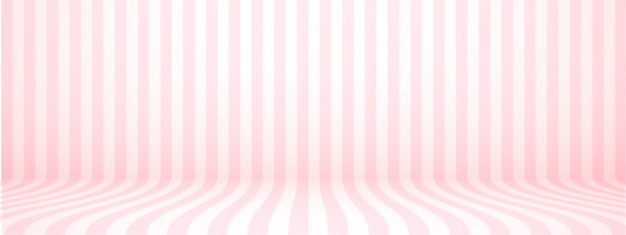 Pastel pink studio background with stripes, horizontal, retro style, illustration.