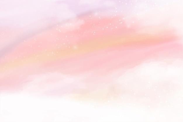 綿の雲の背景にパステル ピンクの水彩ファンタジー空