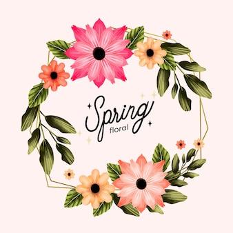パステルピンクの水彩画の春の花のフレーム