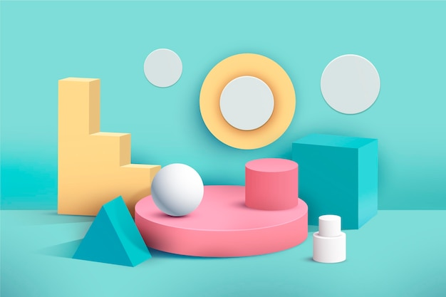 Pastel podium in 3d effect
